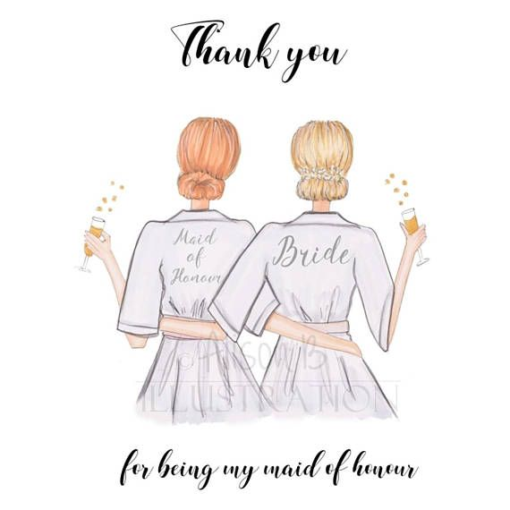 This is a thank you card featuring my original hand sketched and painted bridal design.Perfect bridesmaid / maid of honor / Honour ask card, you can personalise by choosing hair and skin colours ! PLEASE SEE PHOTO EXAMPLES These are also available as ask cards see here :