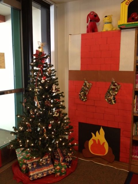 Christmas Construction Paper Fireplace Bulletin Board