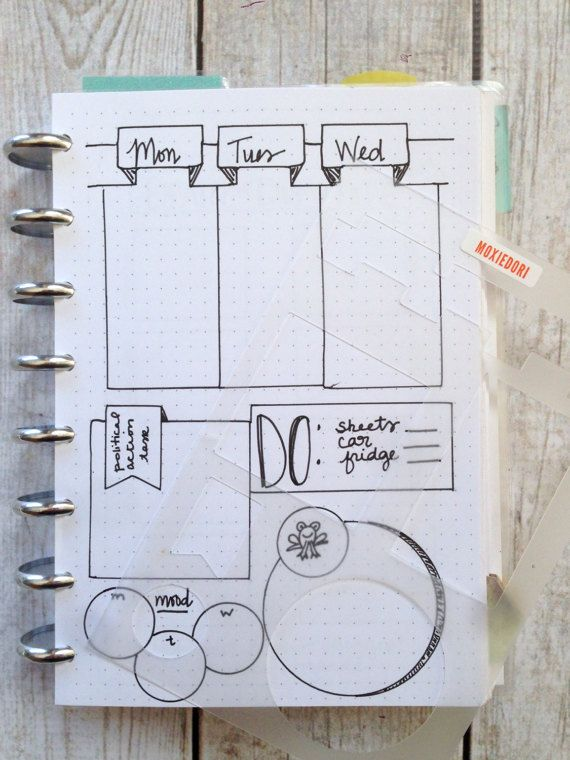 This bullet journal stencil has perfectly sized elements to create vertical weekly spreads. The rectangles, squares, tags and circles all fit together in an oh so pretty eye candy sort of way. You will be able to make optimal use of the entire page and it will look great, which means youll be more apt to use it. This stencil is a no brainer. It is laid out on the stencil to create the layout in the lead photo. Or, you can get creative with it - your choice. Included: 4cm x 7cm box 5.5 cm x…