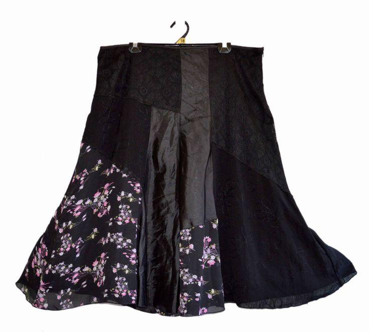 Free Postage (Size 18) Suzanne Grae - Black Skirt Floral Satin Lace Chiffon XL