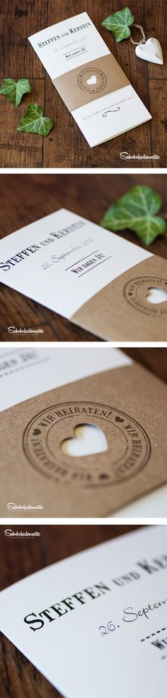 Wunderschöne Schriftgestaltung, liebe zum Detail und hochwertige Papiere machen unsere Karten zu echten Hinguckern. Überzeugt euch selbst und bestellt bis zu 3 gratis Musterkarten in unserem Shop. #invitations #wedding #hochzeitseinladung #vintage #kraftkarton #love #schokoladenseitekarten