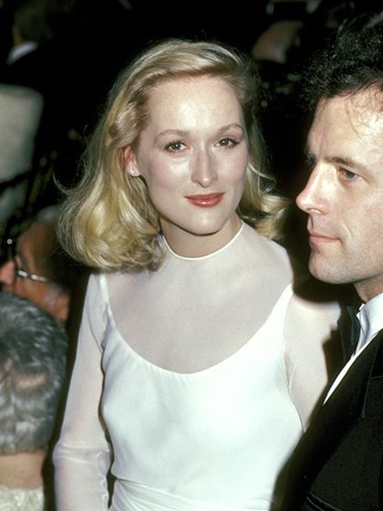 Meryl Streep rocked a major haircut, chopping off about 12 inches, with her ethereal, almost bridal-white gown.