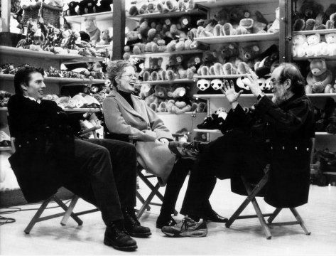 Eyes Wide Shut, directed by Stanley Kubrick, 1999, Tom Cruise, Nicole Kidman, and Stanley Kubrick during a break in shooting on the set.