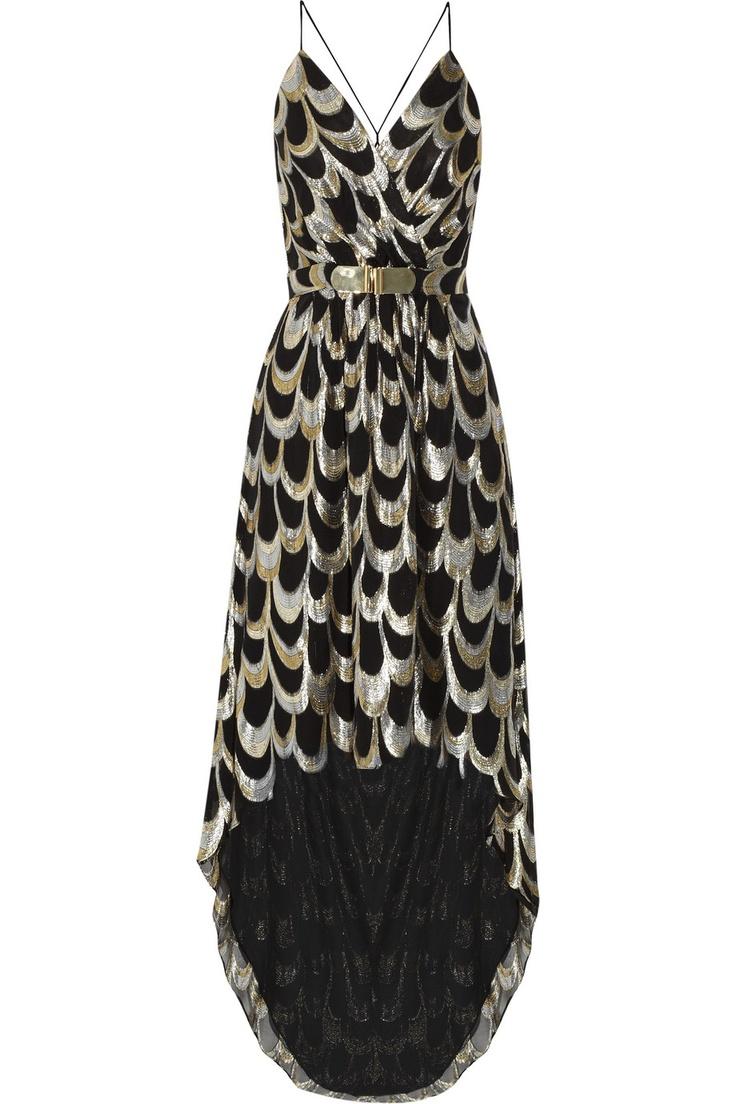anais silk blend metallic jacquard dress by milly
