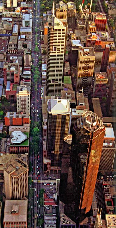 A King Street aerial, notice the heart shaped plant room on the top of the building opposite the Stock Exchange. - Melbourne