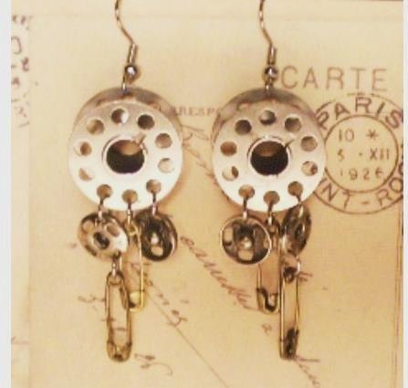 for the seamstress - bobbin earrings