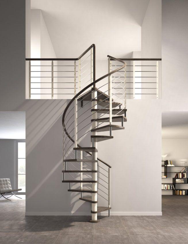 Escalier Helicoidal Circulaire Sans Contremarches Marches Teintees Wenge Entre Celles Ci Des Bagues Metalliques Pe Escalier Escalier Flin Escalier Helicoidal