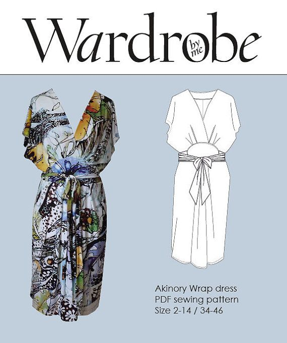 Kimono wrap dress PDF e book DIY sewing pattern women/Wardrobe By Me/wrap dress pattern women/jersey knit dress pdf pattern/Size 2-16\32-46