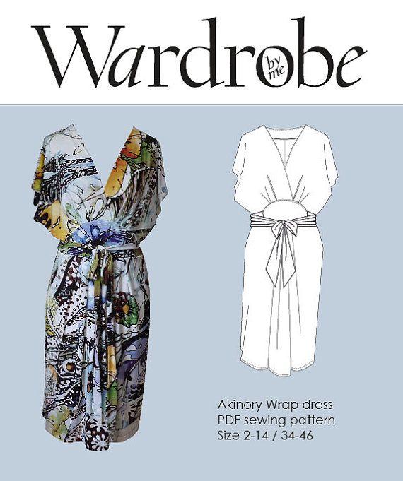 Kimono wrap dress PDF e book DIY sewing pattern women/Wardrobe By Me/wrap dress pattern women/jersey knit dress pdf pattern/Size 2-16\32-46