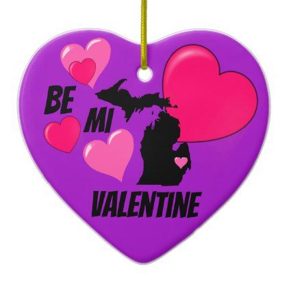 Be MI Valentine Purple Heart Porcelain Ornament - valentines day gifts gift idea diy customize special couple love