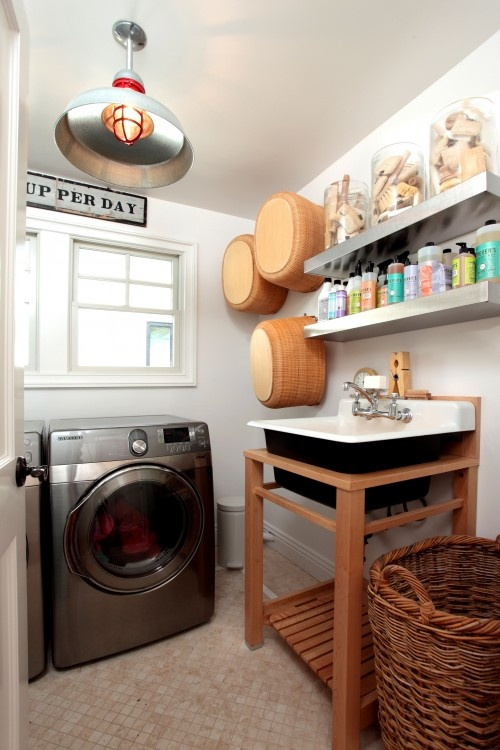 Lookin' for inspiration.  My utility room needs help.  Desperately.: Small Laundry Rooms, Open Shelves, Lights Fixtures, Rooms Decor Ideas, Laundry Rooms Design, Small Spaces, Laundry Baskets, New Products, Stainless Steel