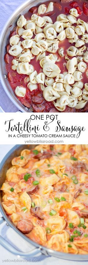 One Pot Tortellini and (Turkey) Sausage in a Cheesy Tomato Cream Sauce - A delicious meal that's ready in 20 minutes! Try this recipe with your Johnsonville Smoked Sausage!