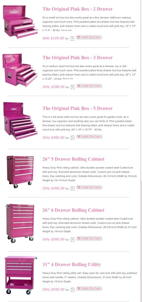 PINK TOOL BOXES! Love these! - pinksuperstore.com