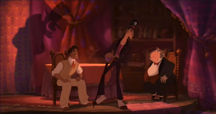 The witch doctor in Disney's Princess and the Frog invites strangers in promising them good things but ultimately deceives them through the use of magic. Note the design of the witch doctor's room and the visual design of the magic he uses.