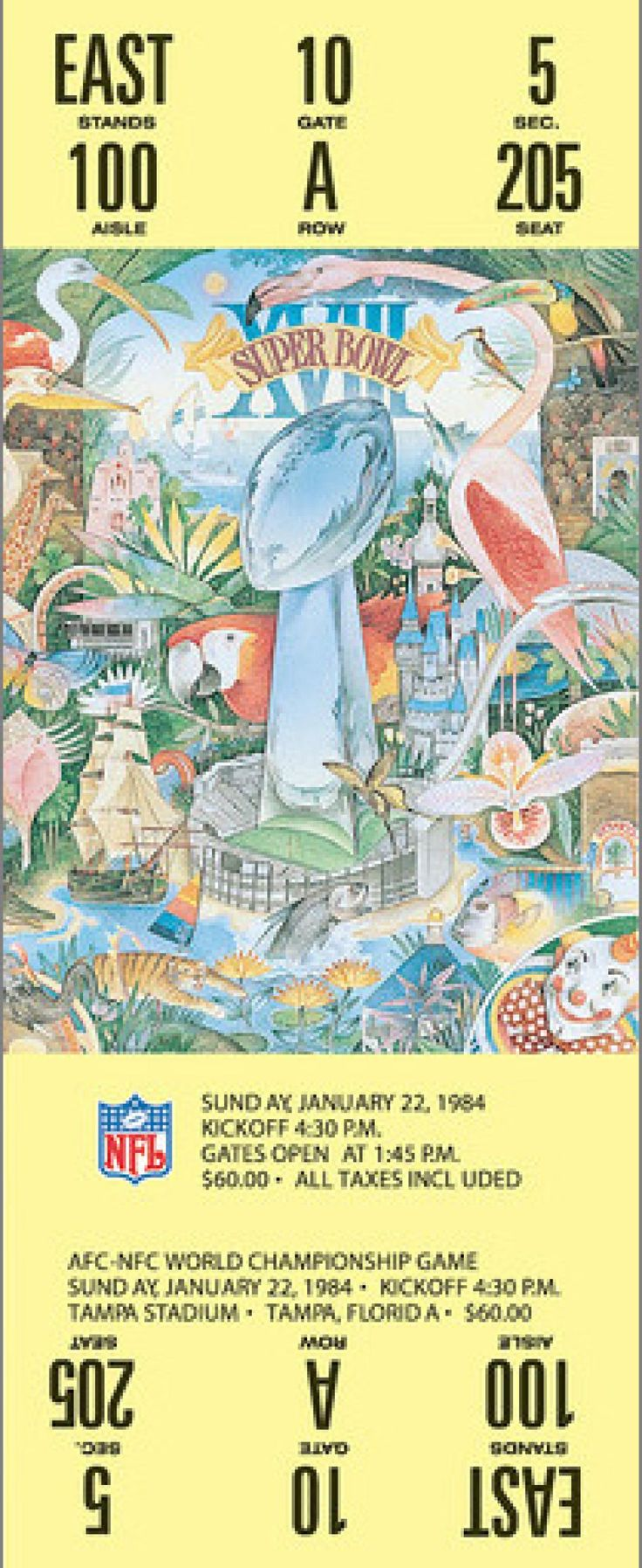 Super Bowl XVIII - Los Angeles Raiders vs. Washington Redskins - Played on January 22,1984, at Tampa Stadium in Tampa, Florida. The average ticket cost for the game was $60.00. The MVP was Raiders RB Marcus Allen. Favorite: Redskins by 3. Referee: Gene Barth. Attendance: 72,920. 30-second commercial: $368,200. Halftime show: University of Florida and Florida State marching bands. Viewers - 77.6 million.