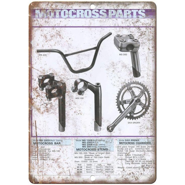 "BMX Motocross Parts- 10"" x 7"" Metal Sign Vintage Look Reproduction"