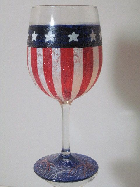 American Flag Painted Wine Glass.