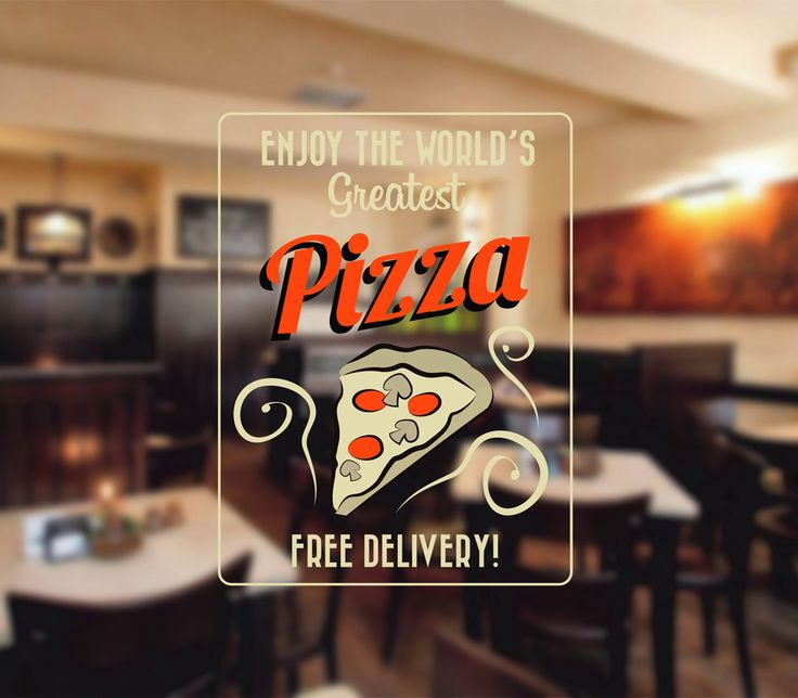 cik1446 Full Color Wall decal free pizza delivery Italian restaurant Pizzeria stained glass