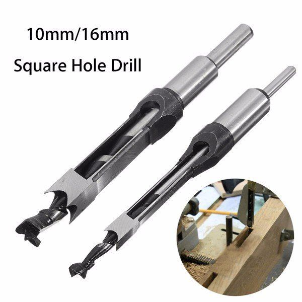 10mm/16mm Square Hole Saw Auger Drill Bit Mortising Chisel Auger Drill Bit Woodworking Tool