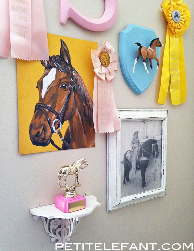 DIY girls room decor Use old pictures of me with new of paisley in bright colored frames