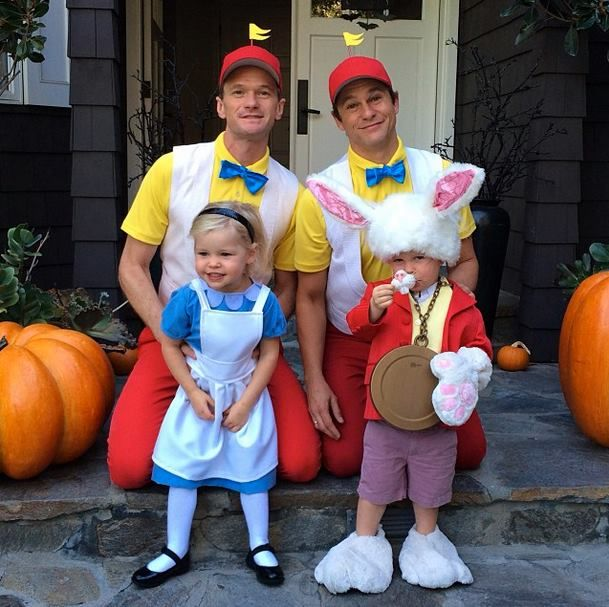 Neil Patrick Harris and David Burtka with their kids doing Halloween as Alice in Wonderland