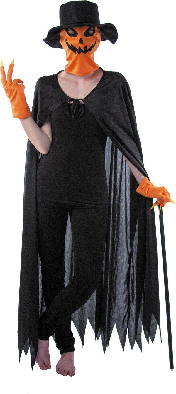 Kit citrouille adulte Halloween : Ce kit citrouille pour adulte se compose d'une cape, d'une cagoule, de gants et d'un chapeau (t-shirt, pantalon et canne non inclus).La longue cape est noire, elle s'attache à...