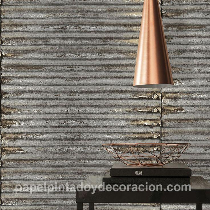 Papel pintado vinílico plancha de metal oxidada con remaches PDA8307561