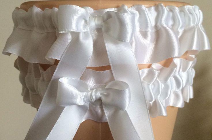 White Wedding Garter Set, Prom Garter