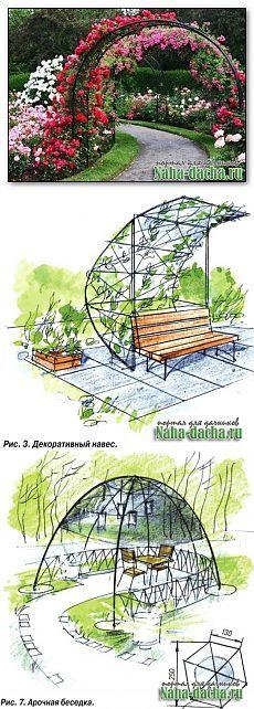 Примеры изготовления садовых арок, шпалер, цветочных клумб   Наш уютный дом