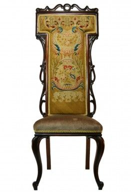 Tall Back Mahogany and Rosewood Needlepoint Chair, Antique English Victorian, circa 1850