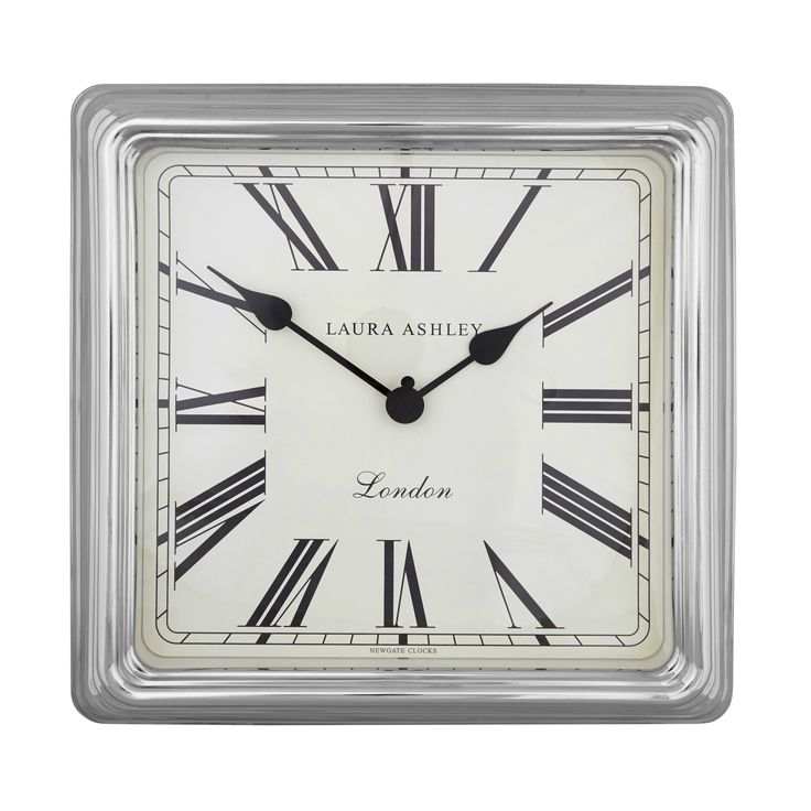Square Silver Finish Wall Clock at Laura Ashley