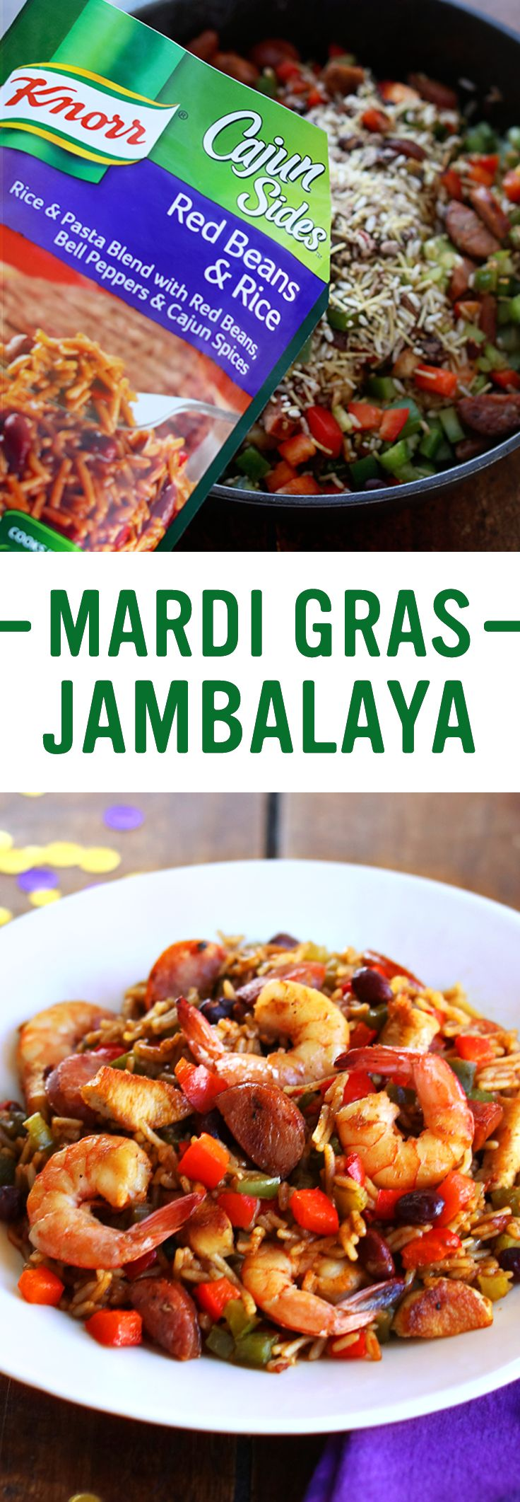 Step up to a flavorful, homemade, single skillet, family dinner idea with Knorr's Mardi Gras Jambalaya! Make this easy New Orleans Creole favorite in under 30 minutes tonight: 1. Cook shrimp & set aside 2. Cook chicken & sausage Combine with shrimp 3. Add celery & peppers 4. Stir in Knorr® Cajun Sides™ - Red Beans & Rice. Serve & let the good times roll!