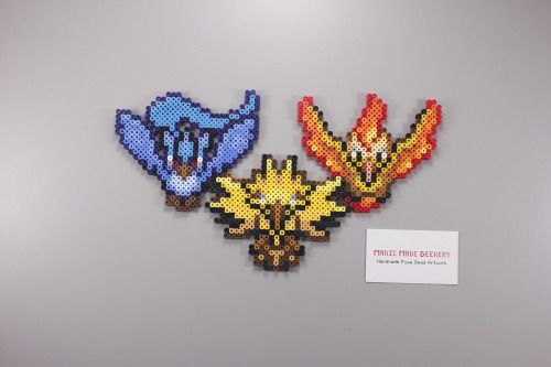 Perler and Artkal fuse bead Pokemon legendary Birds Articuno, Zapdos, Moltres by Manic Made Geekery