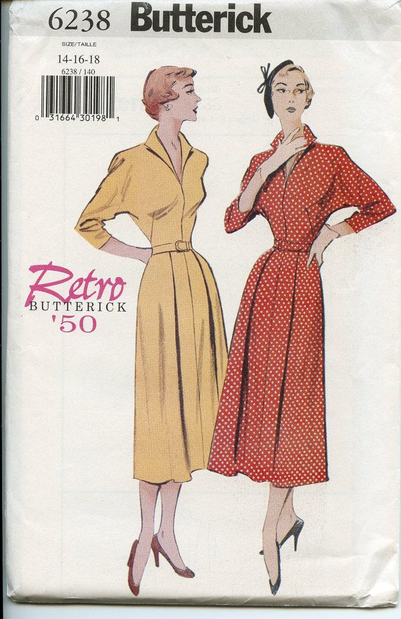 Butterick 6238 circa 1950 retro dress includes front inset with V neckline  with pleated front flared skirt. Dress is made with long sleeves .