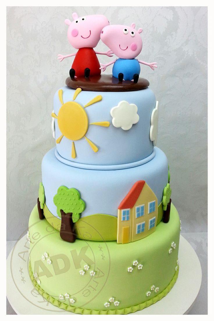 Peppa Pig cake - really simple but well done, i'd like it with hot air balloon on side
