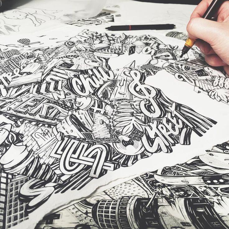 Intrincadas Ilustraciones con Tipografías hechas a Mano Alzada