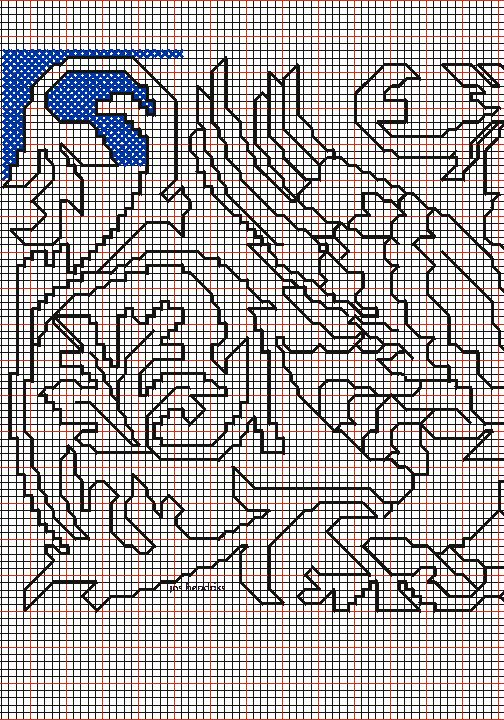 """working drawing 1 for the Assisi embroidery design """"winged beasts around vase"""""""