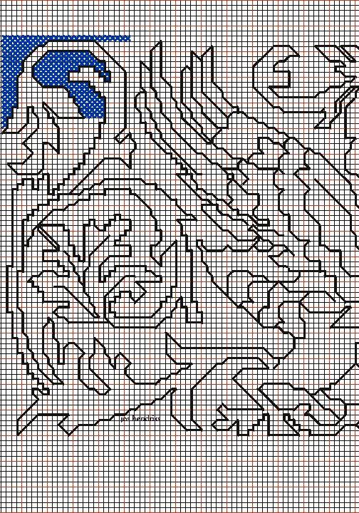 """disegno 1 ) per il ricamo di Assisi """"bestie alate intorno vaso"""""""