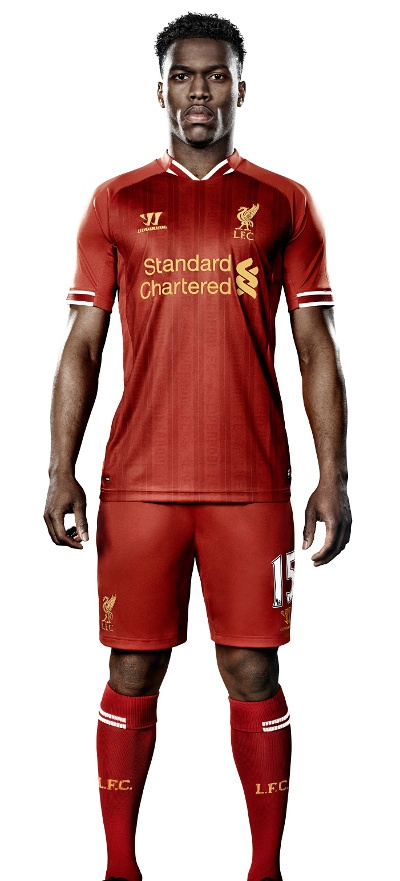 Daniel Sturridge models the new #LFC home kit for the 2013-14 season.