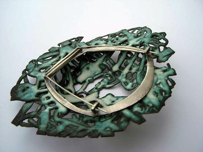 Sarah Abramson. Smashed Brooch I. Electroformed copper, vitreous. enamel, silver.