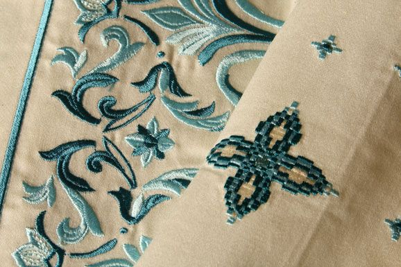 Blue linen embroidery