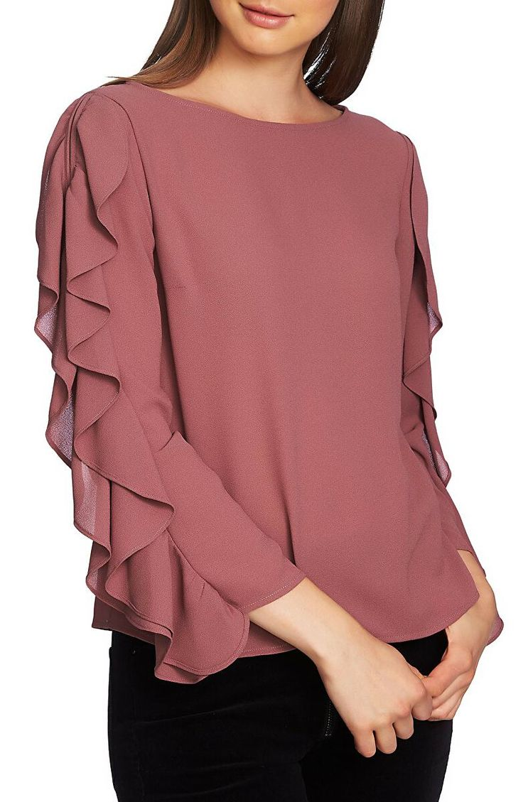 1.STATE Designer Ruffle Slit Sleeve Top | Avivey (Style Lives Here)