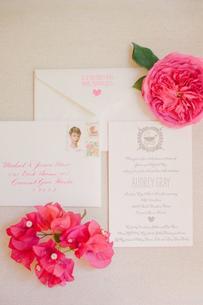 White with pops of pink: http://www.stylemepretty.com/2016/04/27/60-of-the-most-unique-wedding-invitations-ever/ Photography: Katie Lopez - http://katielopezphotography.com/