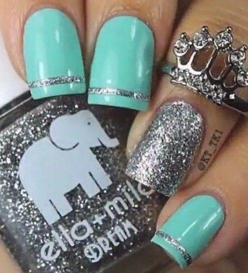 Tiffany blue & silver glitter nails.