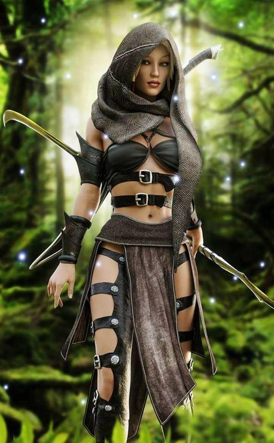 Tochter des Waldes, Schwester der Jagd. Cooles Cosplay-Kostüm