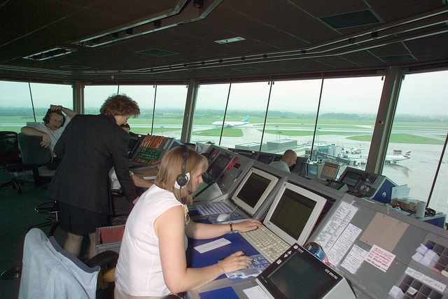Inside old Manchester Tower Air traffic control, Tower, Atc