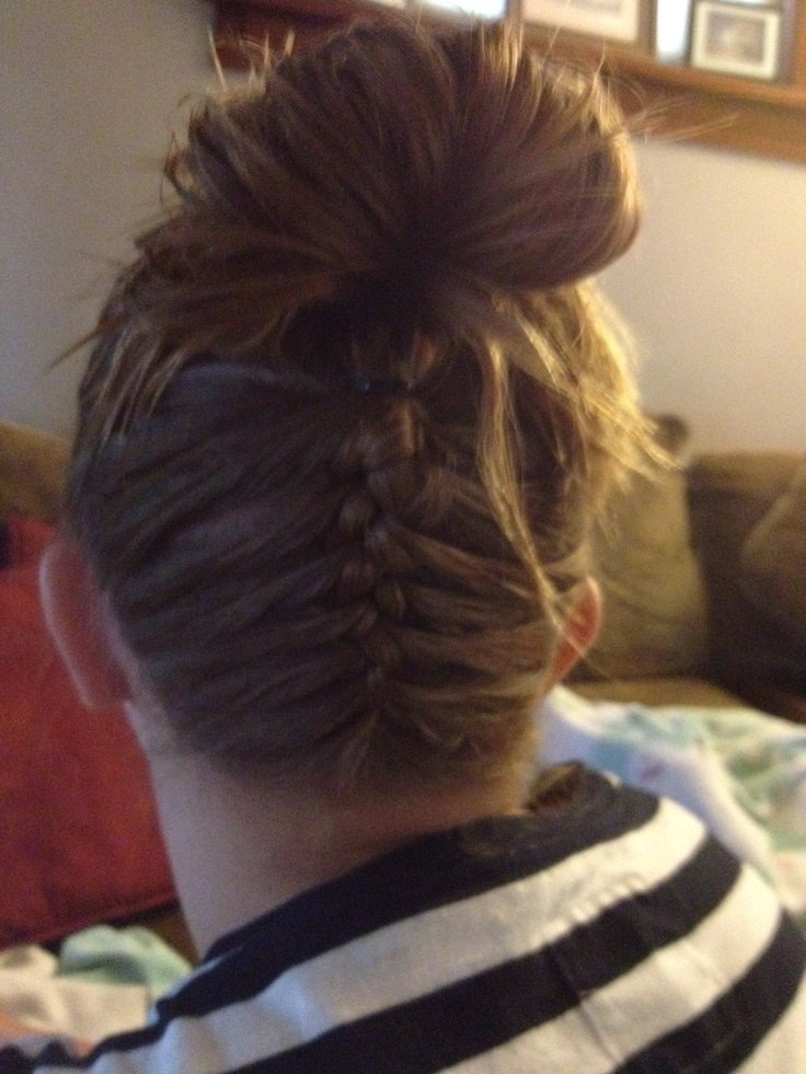 French braid back of head then put in a bun or a pony :) great for back to school hair styles