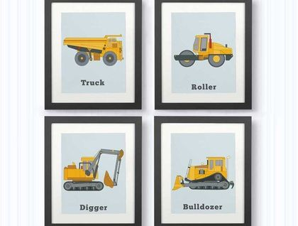 Set of 4 Truck Prints for the walls of little boys.