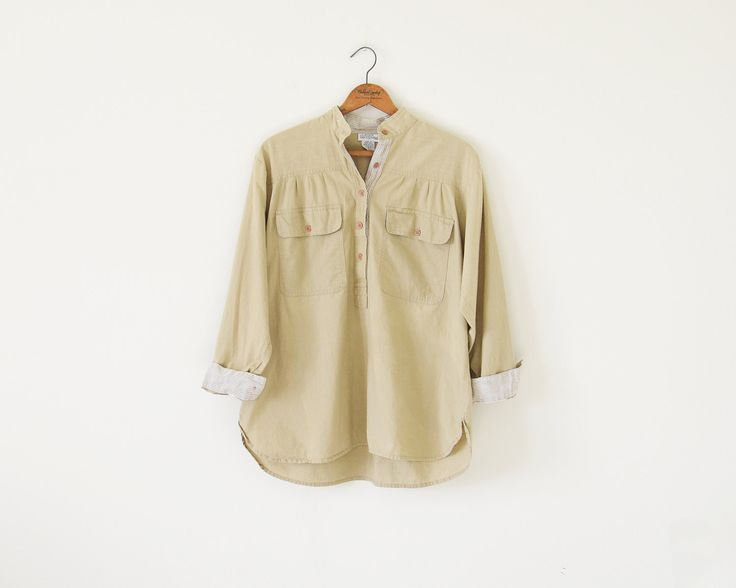 90s cotton blouse top / light camel top / small by standardedition on Etsy