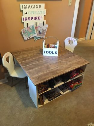 Pallet desk and Refinished Chairs for Playroom